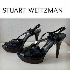 Stuart Weitzman Leather Slingback Sandals 7.5 Heel